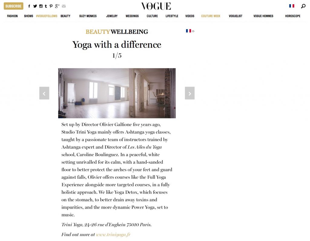 article Vogue Trini Yoga - Yoga à part
