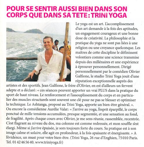 coupure presse Célébrité Magazine Trini Yoga Paris