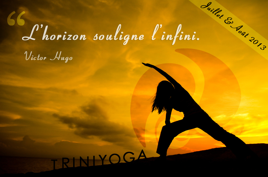 Coucher de Soleil et Posture de Yoga - citation TriniYoga
