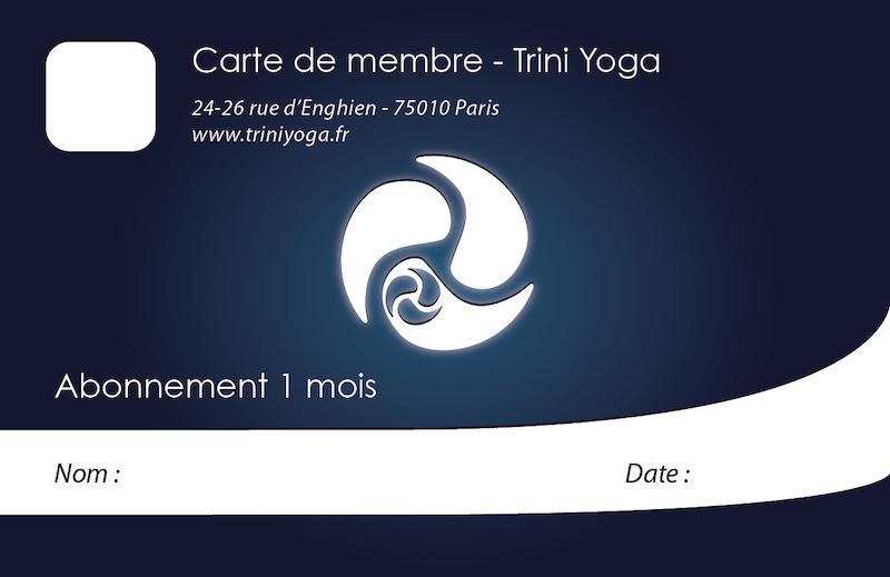 Abonnement 1 mois - TriniYoga Paris
