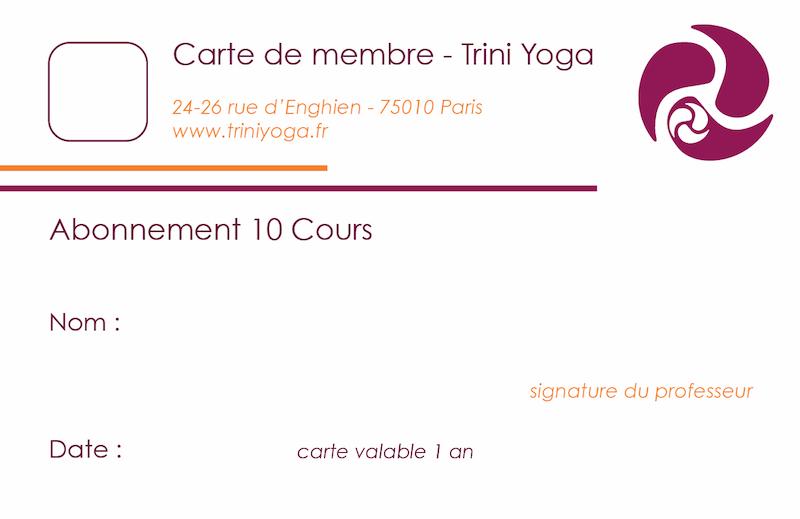 Carnet 10 cours - TriniYoga Paris