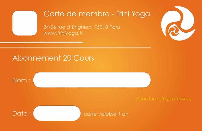 Carnet 20 cours - TriniYoga Paris
