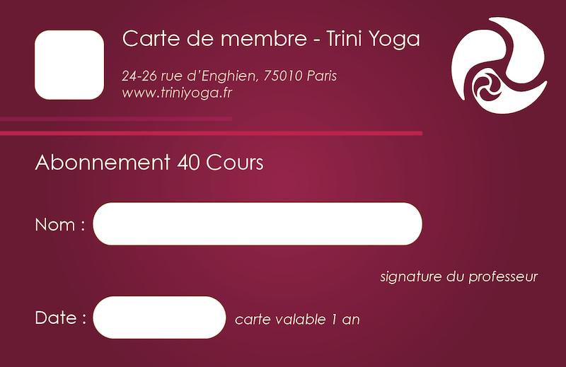 Carnet 40 cours - TriniYoga Paris