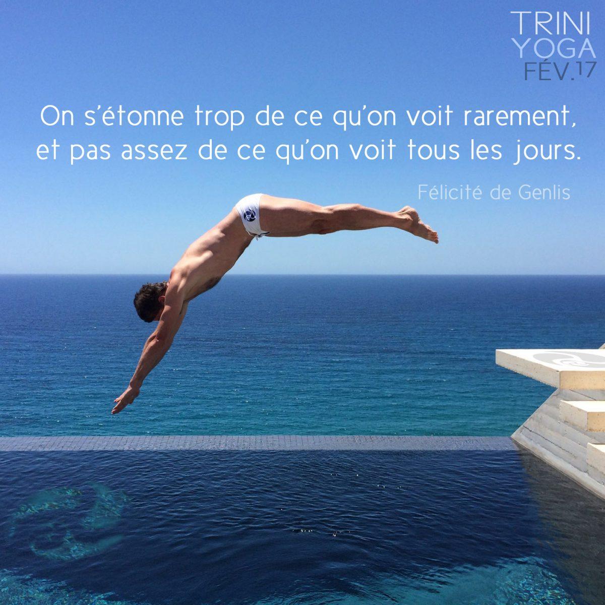 Homme plongeon piscine en Grèce - Trini Yoga citation Félicité de Genlis